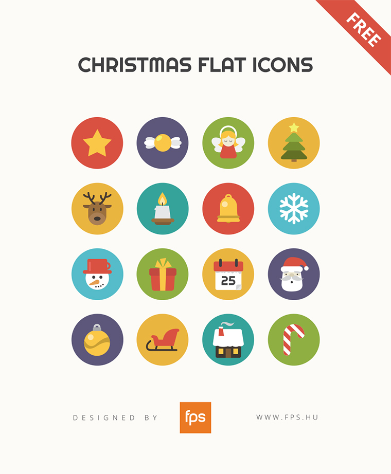 Christmas Flat Icons with light gray background