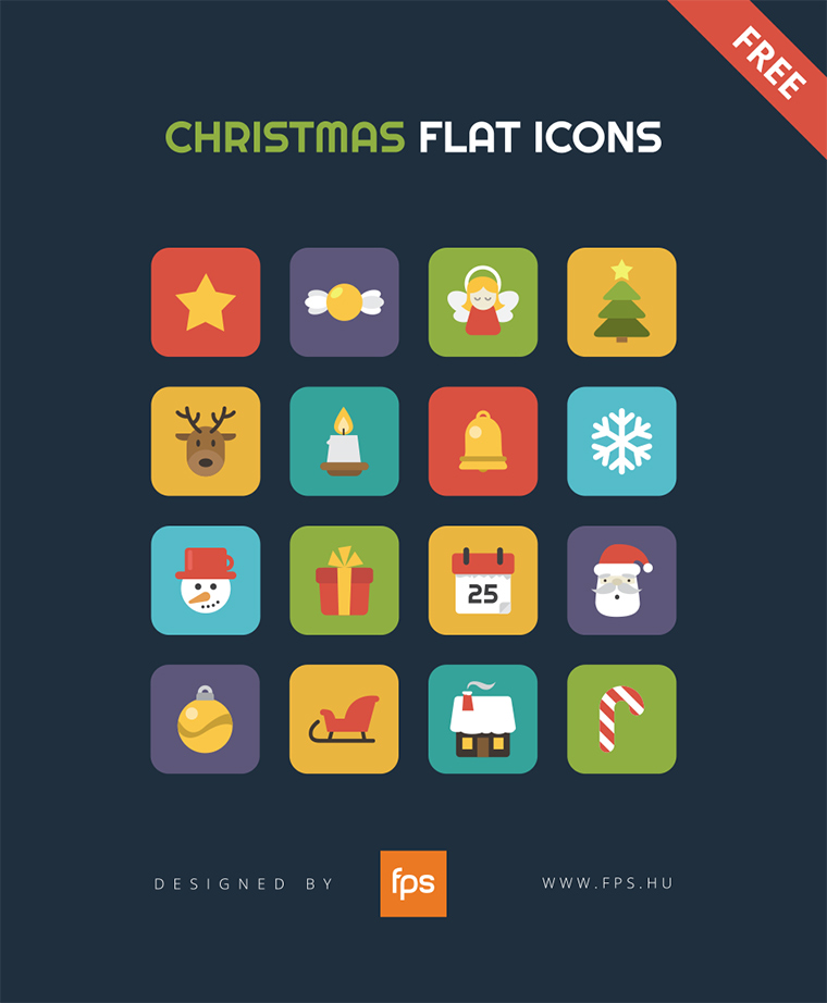 Christmas Flat Icons with dark blue background