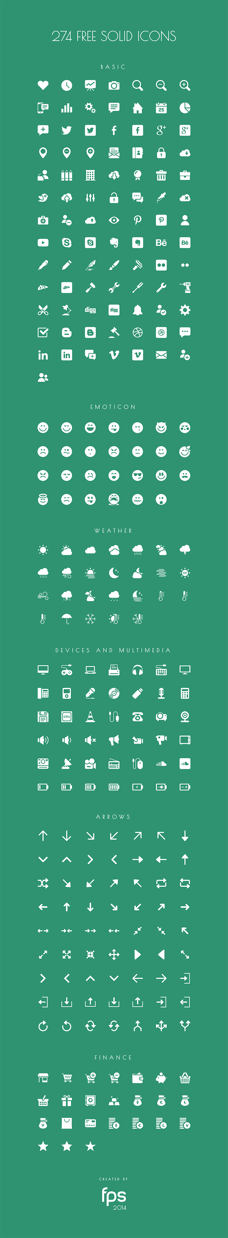 274 Vector Solid Icons by fps web agency