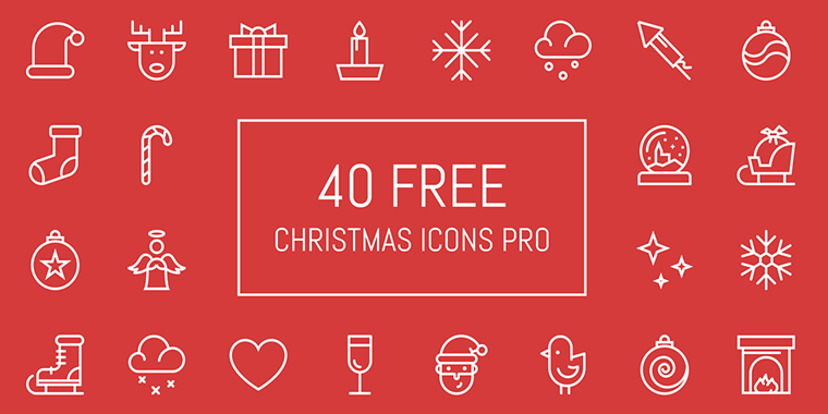 40 lined vector christmas icons for free