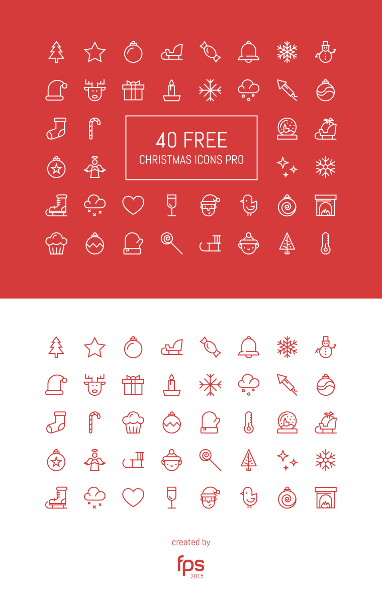 Lined vector christmas icons preview